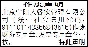 作废声明_北京宁阳人餐饮管理有限公司