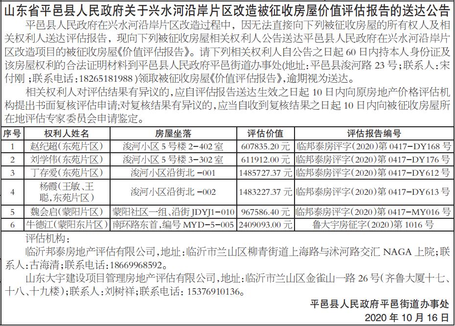 片区改造被征收房屋价值评估报告的送达公告